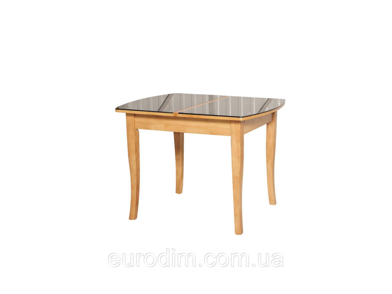 Стол обеденный ED01 стекло темное/ольха