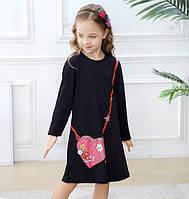Дитяче трикотажне плаття туніка Сумка серце синє