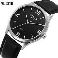 Классические мужские кварцевые наручные часы WLISTH. Черно-серебристые