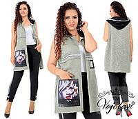 Женский стильный костюм с кардиганом без застежки 1085G