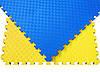 Мат татами 100*100*3 см Eva-Line Extra Quality синий/желтый Плетёнка 100 кг/м3 (будо-мат, даянг), фото 2