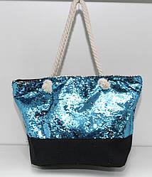 Женская тканевая пляжная сумка с канатными ручками и пайетками голубого цвета