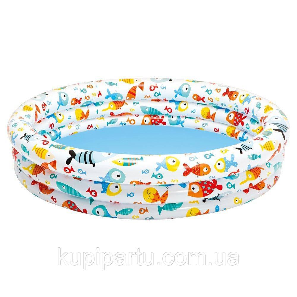 """59431 Детский надувной бассейн 132х28см """"Рыбки"""" 204л, от 2 лет"""