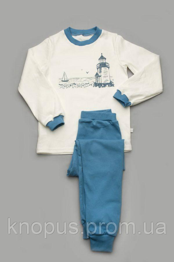 Пижама для мальчика (интерлок),белая с  синим, Мотоклуб, Модный карапуз, размеры 116-122