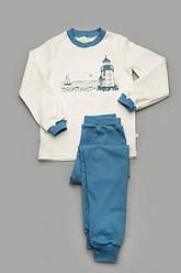 Пижама для мальчика (интерлок),белая с  синим, Мотоклуб, Модный карапуз, размеры 110-122