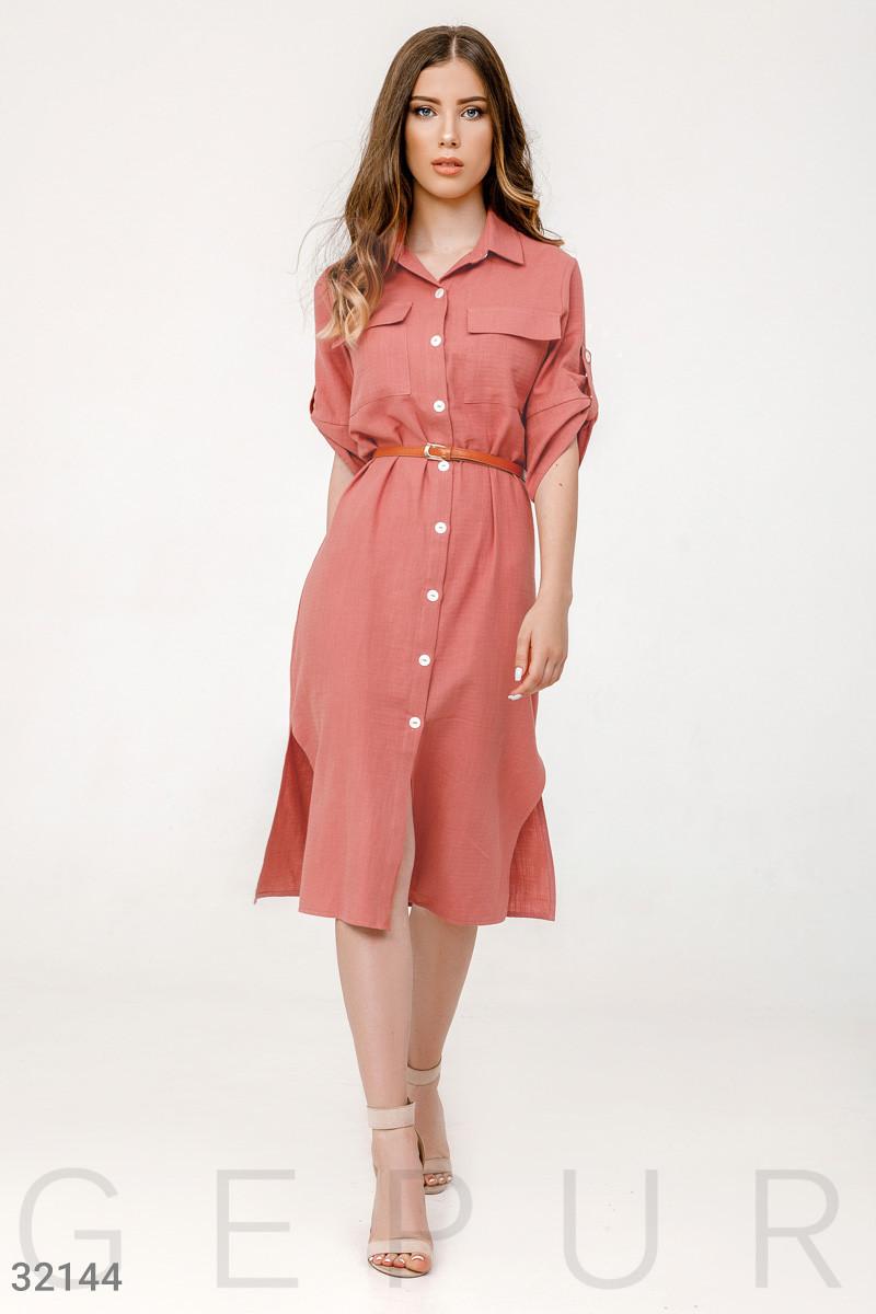 Хлопковое платье-рубашка с поясом розовое
