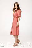 Хлопковое платье-рубашка с поясом розовое, фото 2