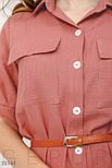 Хлопковое платье-рубашка с поясом розовое, фото 3