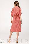 Хлопковое платье-рубашка с поясом розовое, фото 4