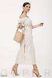Длинное платье в полоску на лето с открытыми плечами, фото 2