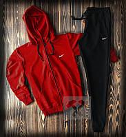 Спортивный костюм на молнии с капюшоном Найк красно-черного цвета