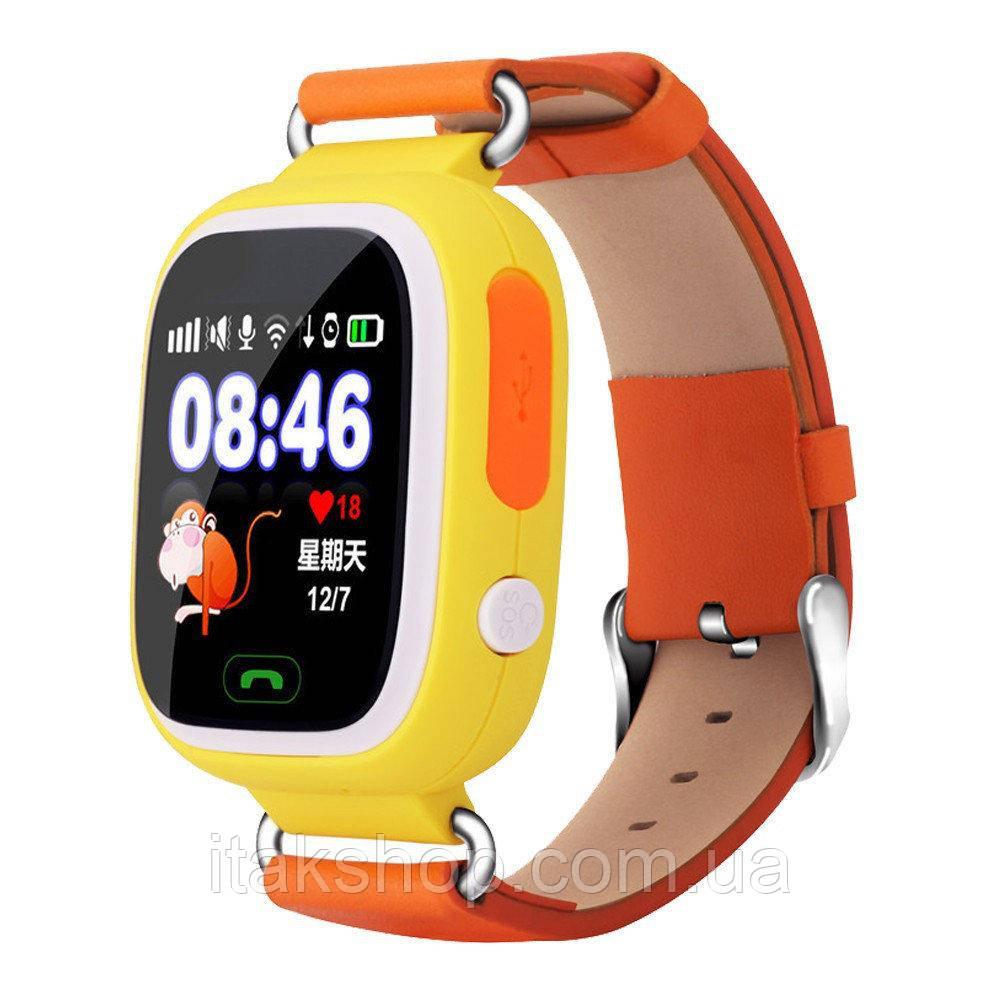 Умные детские часы Smart Baby Watch Q90 с GPS трекером Оригинал желтые (оранжевые)