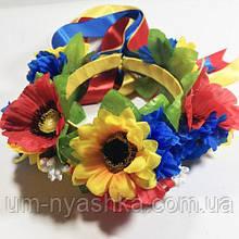 Обруч в украинском стиле венок цветы с лентами на широком ободке