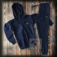 Спортивный костюм на молнии с капюшоном Найк синего цвета (Nike) весна/лето/осень