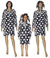 Комплект халатов махровых с ушками 01266 01266 Мама + Дочка Зайчик Серый/Горох , р.р.32-50