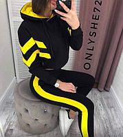 Женский летний спортивный костюм черно жёлтый 42-44 44-46 48-50 52-54