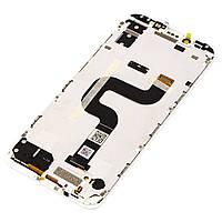 Дисплейный модуль Xiaomi Mi А2 (6x) белый (оригинал) с рамкой