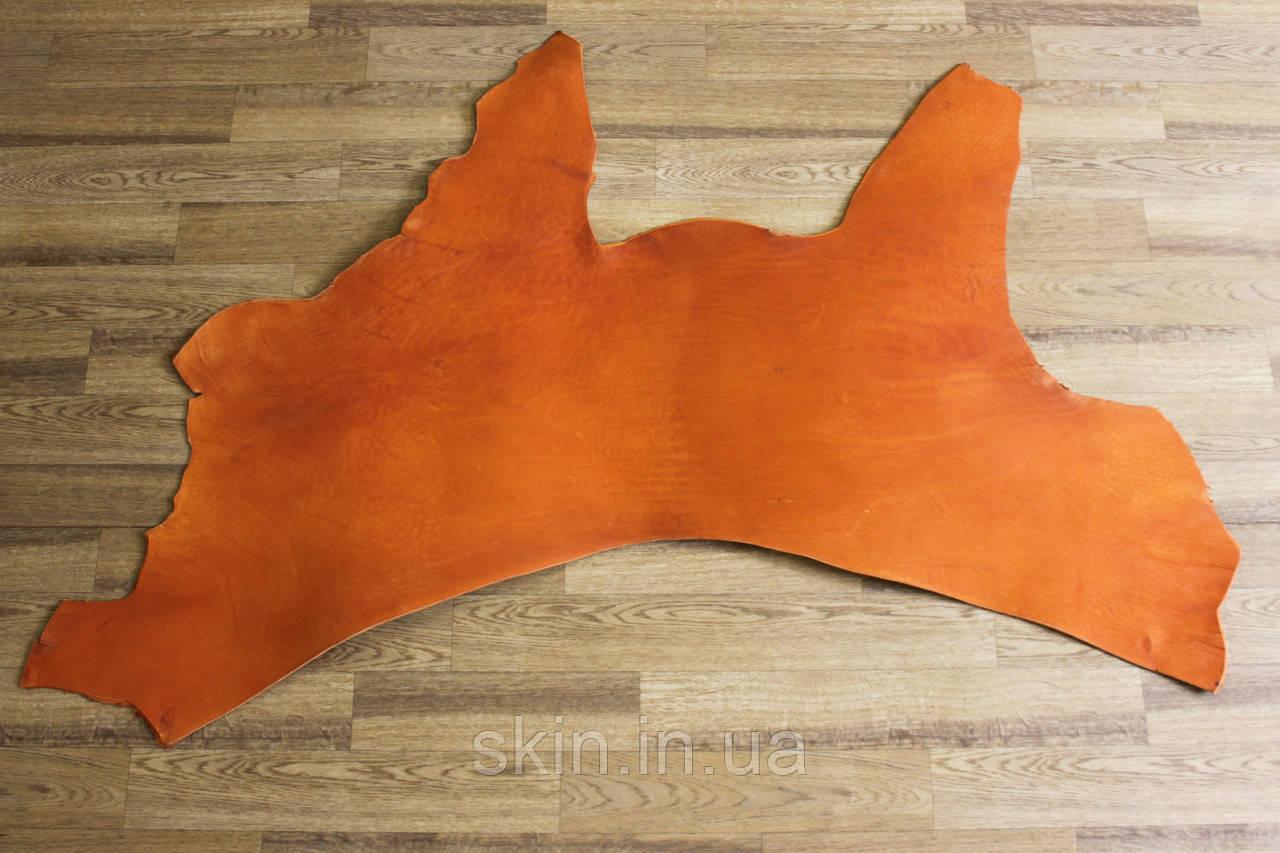Кожа натуральная ременная в воротках, толщина 3.2 мм, рыжего цвета, арт. СК 1677-4