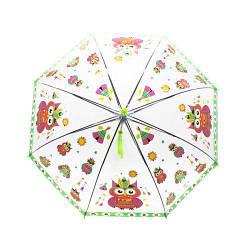 """Зонт прозрачный """"Совы"""", 75 см (салатовый)"""