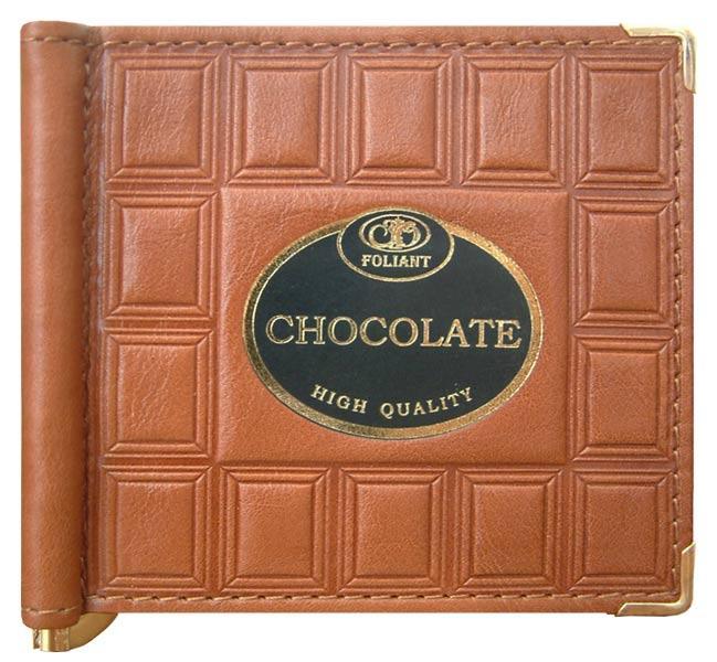 """Зажим для денег кожаный компактный """"Шоколад"""""""