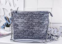 Женская сумка-клатч цвета серебро с принтом, натуральная кожа