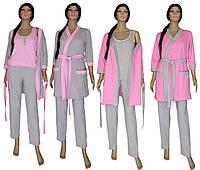 Комплект пеньюар женский домашний с теплым халатом 18306 Mindal Soft Grey&Pink, р.р.42-56