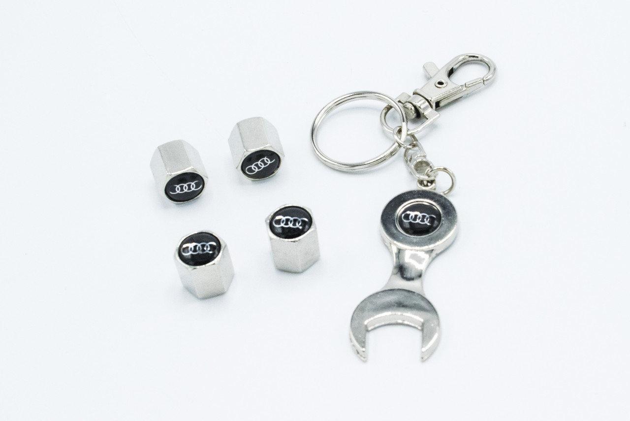 Колпачки на нипель с логотипом Audi и брелком ключиком TIRE VALVES YX-088 логотип Ауди