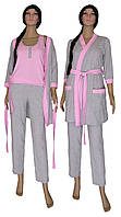 Пижама женская с брюками и теплый халат 18306 Mindal Soft Grey&Pink