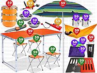 20пр. УСИЛЕННЫЙ раскладной столик-чемодан для пикника с 4 стульями Folding Table в наборе(гамаки, зонт и д.р.)