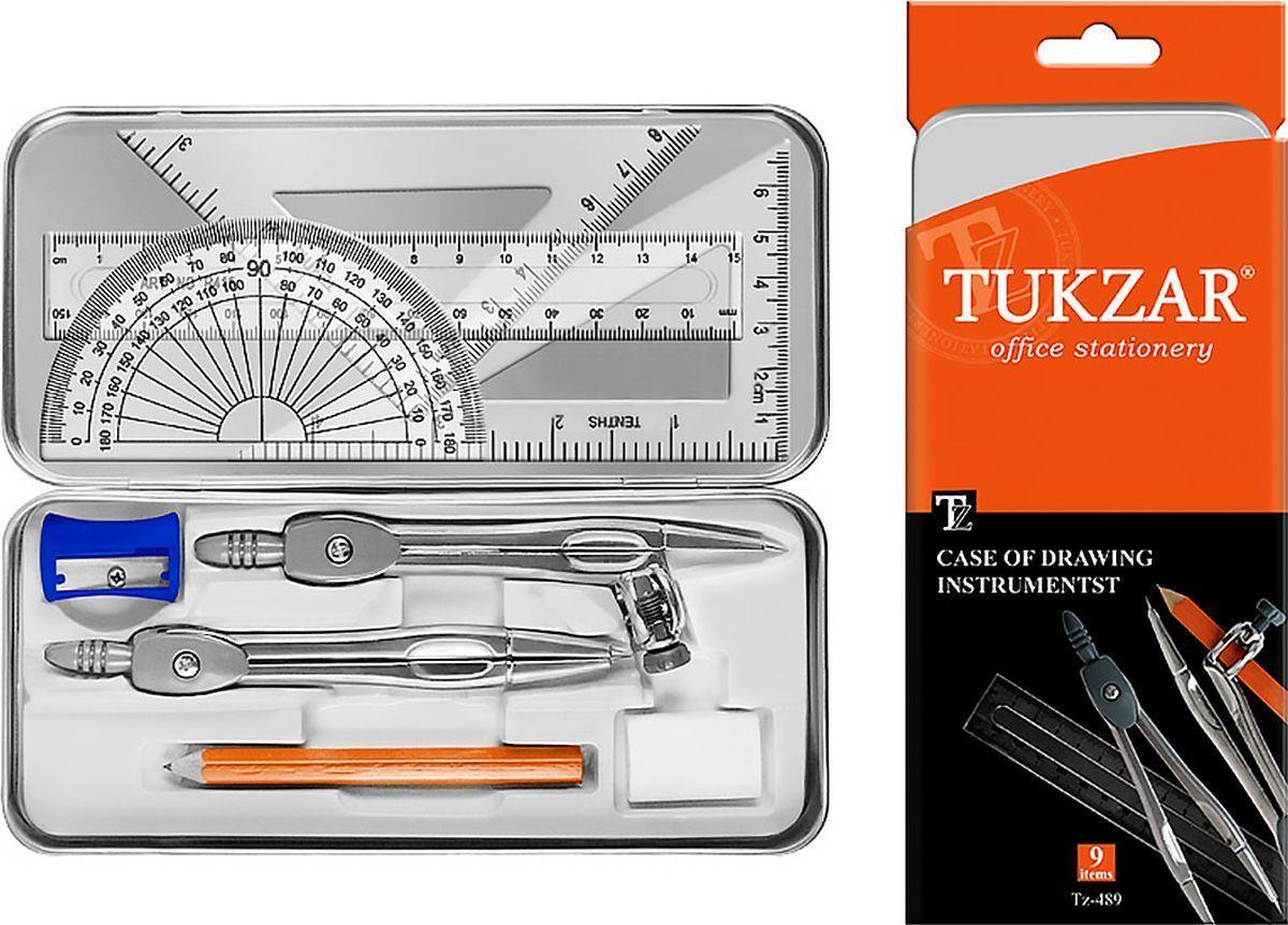 Готовальня на 9 предметов для чертежно-графических работ карандашом в металической упаковке TUKZAR