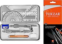 Готовальня на 9 предметов для чертежно-графических работ карандашом в металической упаковке TUKZAR , фото 1