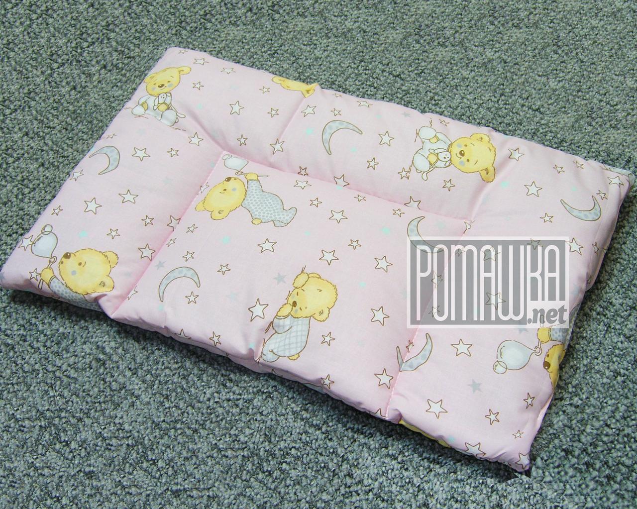 Подушка детская Нулевка 0-6 месяцев 38х58 для новорожденных с рождения гипоаллергенная 4620 Розовый
