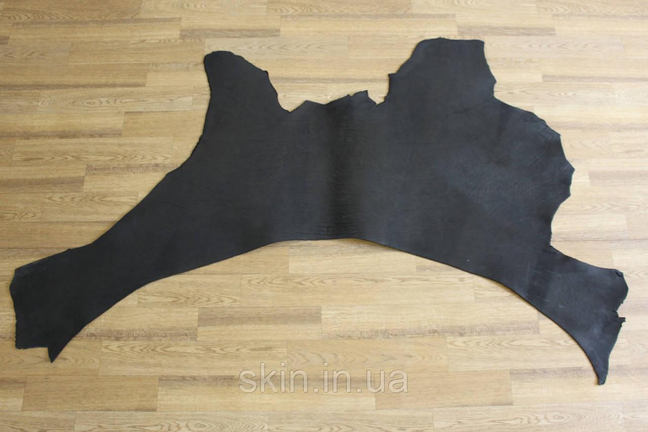 Кожа натуральная ременная черного цвета, толщина 3.2 мм, арт. СК 1677 вороток