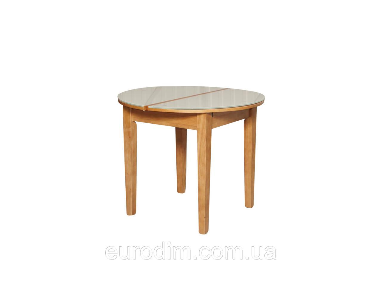 Стол обеденный ED02 стекло белое/ольха