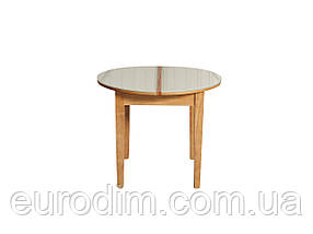 Стол обеденный ED02 стекло белое/ольха, фото 2