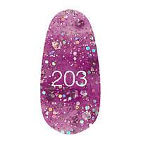 Гель лак Kodi 7 мл. Цвет №203 - сиреневый с блестками разных размеров