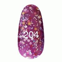 Гель лак Kodi 7 мл. Цвет №204 - фиолетовый с блестками разных размеров