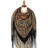 Таинственный вечер 1539-18, павлопосадский платок (шаль) из уплотненной шерсти с шелковой вязаной бахромой, фото 4