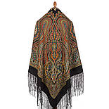 Таинственный вечер 1539-18, павлопосадский платок (шаль) из уплотненной шерсти с шелковой вязаной бахромой, фото 7