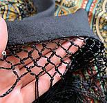 Таинственный вечер 1539-18, павлопосадский платок (шаль) из уплотненной шерсти с шелковой вязаной бахромой, фото 8