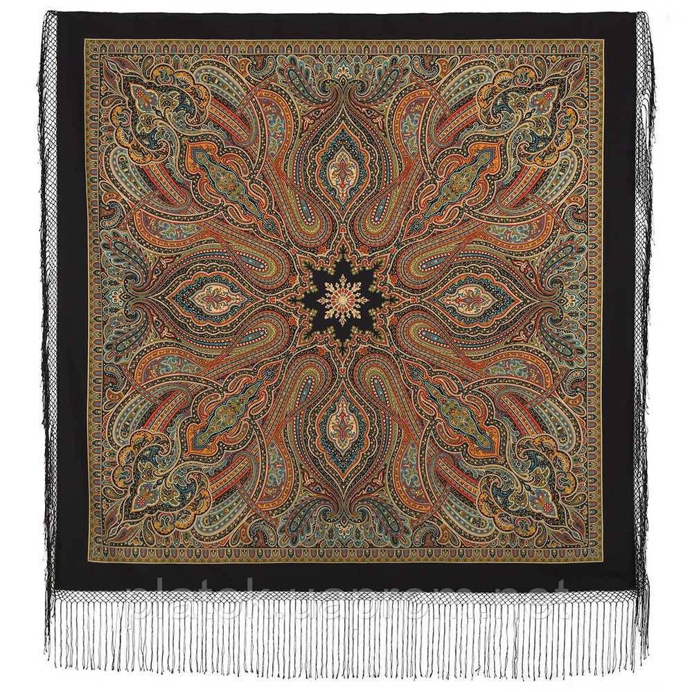 Таинственный вечер 1539-18, павлопосадский платок (шаль) из уплотненной шерсти с шелковой вязаной бахромой