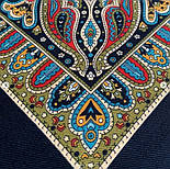 Таинственный вечер 1539-18, павлопосадский платок (шаль) из уплотненной шерсти с шелковой вязаной бахромой, фото 9