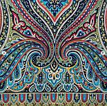 Таинственный вечер 1539-18, павлопосадский платок (шаль) из уплотненной шерсти с шелковой вязаной бахромой, фото 5