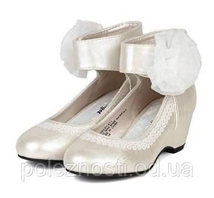 Б/У туфли жемчужного цвета для девочки (12 ам/размер)