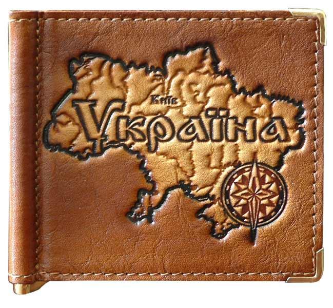 """Зажим для денег кожаный компактный """"Украина"""". Цвет коричневый"""