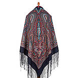 Таинственный вечер 1539-14, павлопосадский платок (шаль) из уплотненной шерсти с шелковой вязанной бахромой, фото 3