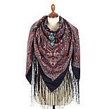 Таинственный вечер 1539-14, павлопосадский платок (шаль) из уплотненной шерсти с шелковой вязанной бахромой, фото 2