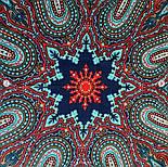 Таинственный вечер 1539-14, павлопосадский платок (шаль) из уплотненной шерсти с шелковой вязанной бахромой, фото 6