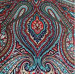Таинственный вечер 1539-14, павлопосадский платок (шаль) из уплотненной шерсти с шелковой вязанной бахромой, фото 7