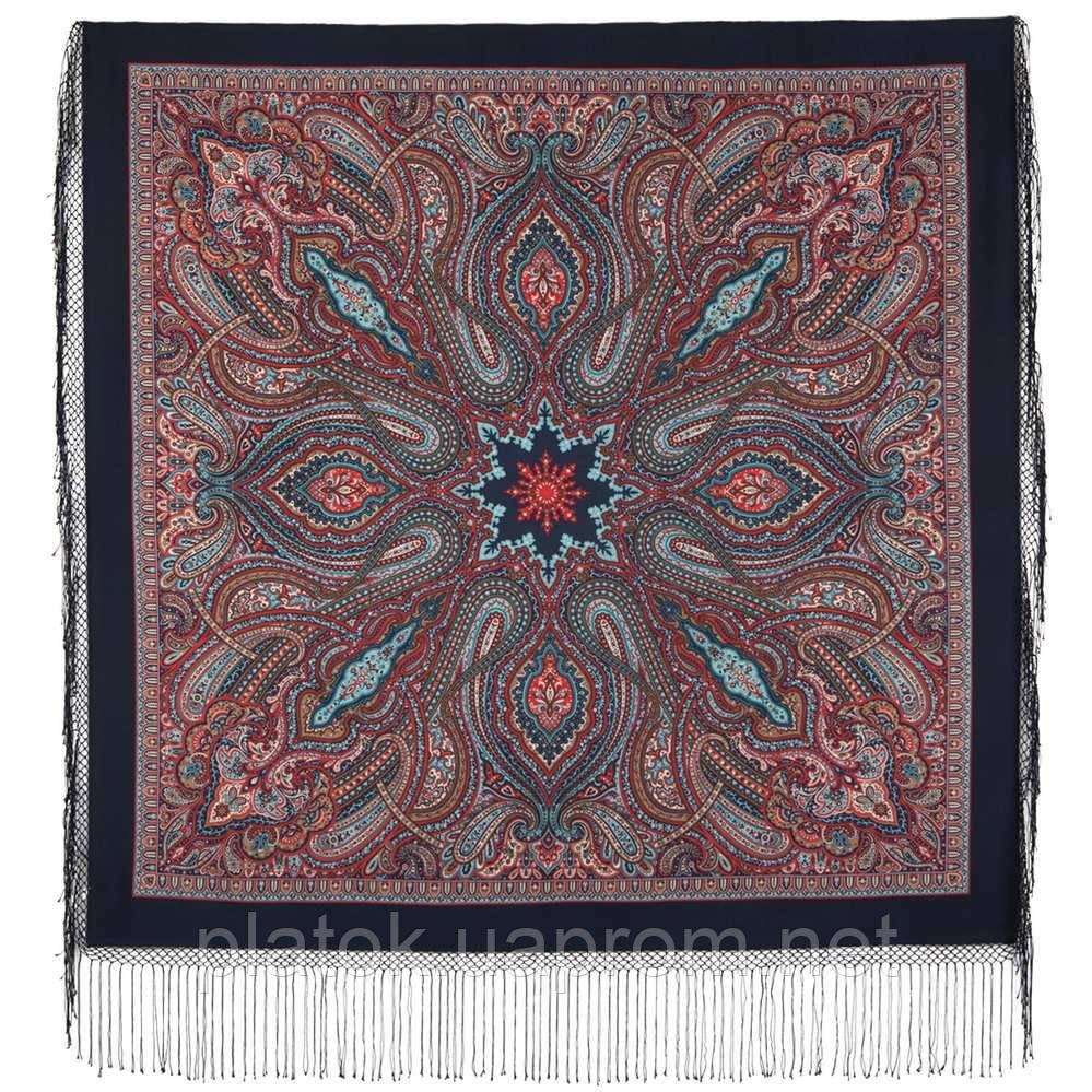 Таинственный вечер 1539-14, павлопосадский платок (шаль) из уплотненной шерсти с шелковой вязанной бахромой